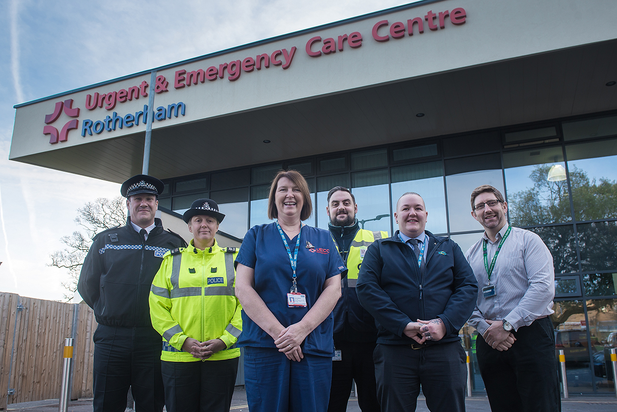 From left to right – Paul Ferguson, Neighbourhoods Chief Inspector; Sharon Phin, Sergeant; Patricia Davies, Team Leader in the Urgent and Emergency Care Centre; Michael Moore, Security Team Leader; Vicky Pearson, Assistant Security Manager; Tony Bennett, Security Manager at The Rotherham NHS Foundation Trust.