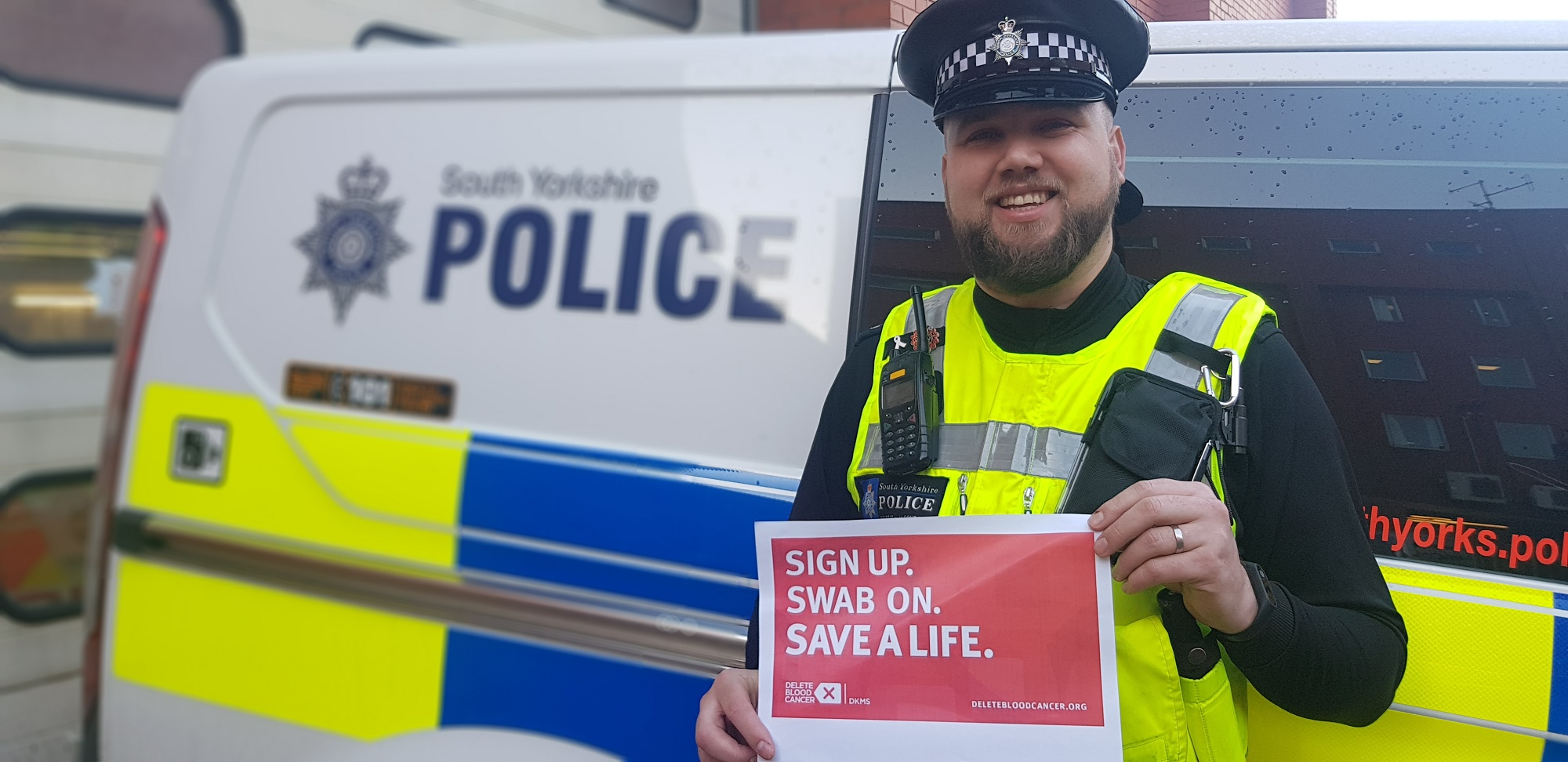 PC Luke Bugdol urges people to sign up to the bone marrow register