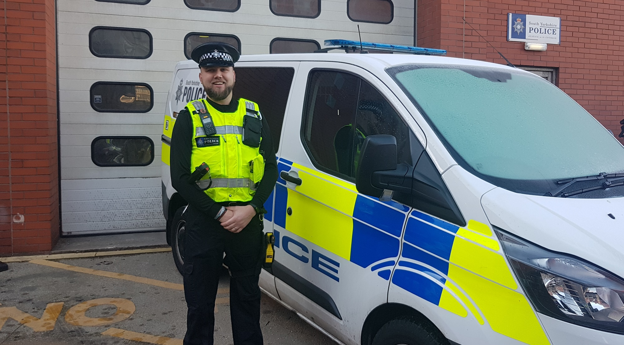 PC Luke Bugdol outside Rotherham Main Street station