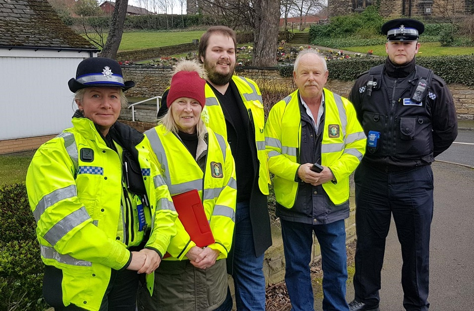 PCSO's with Councillor Richard Riggs and local speed watch group members