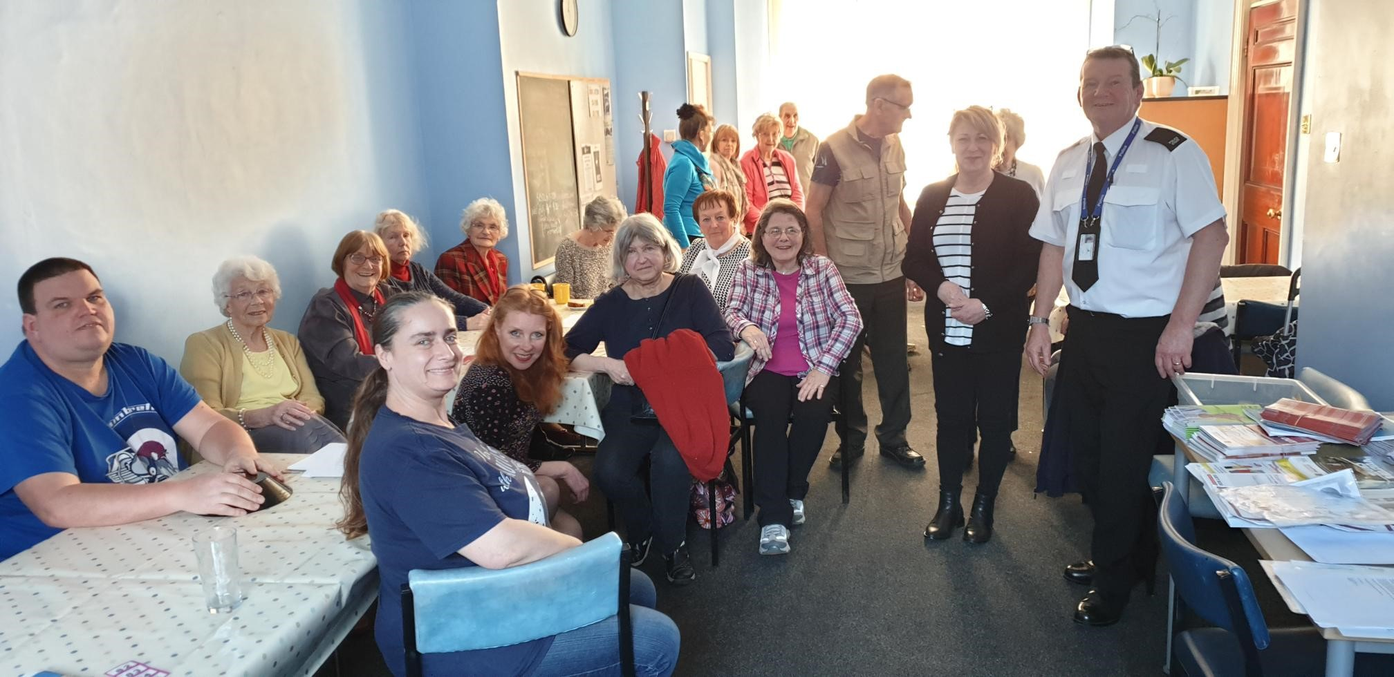 Photo – Andy with Julie Garbutt and some of those carers who attended today.