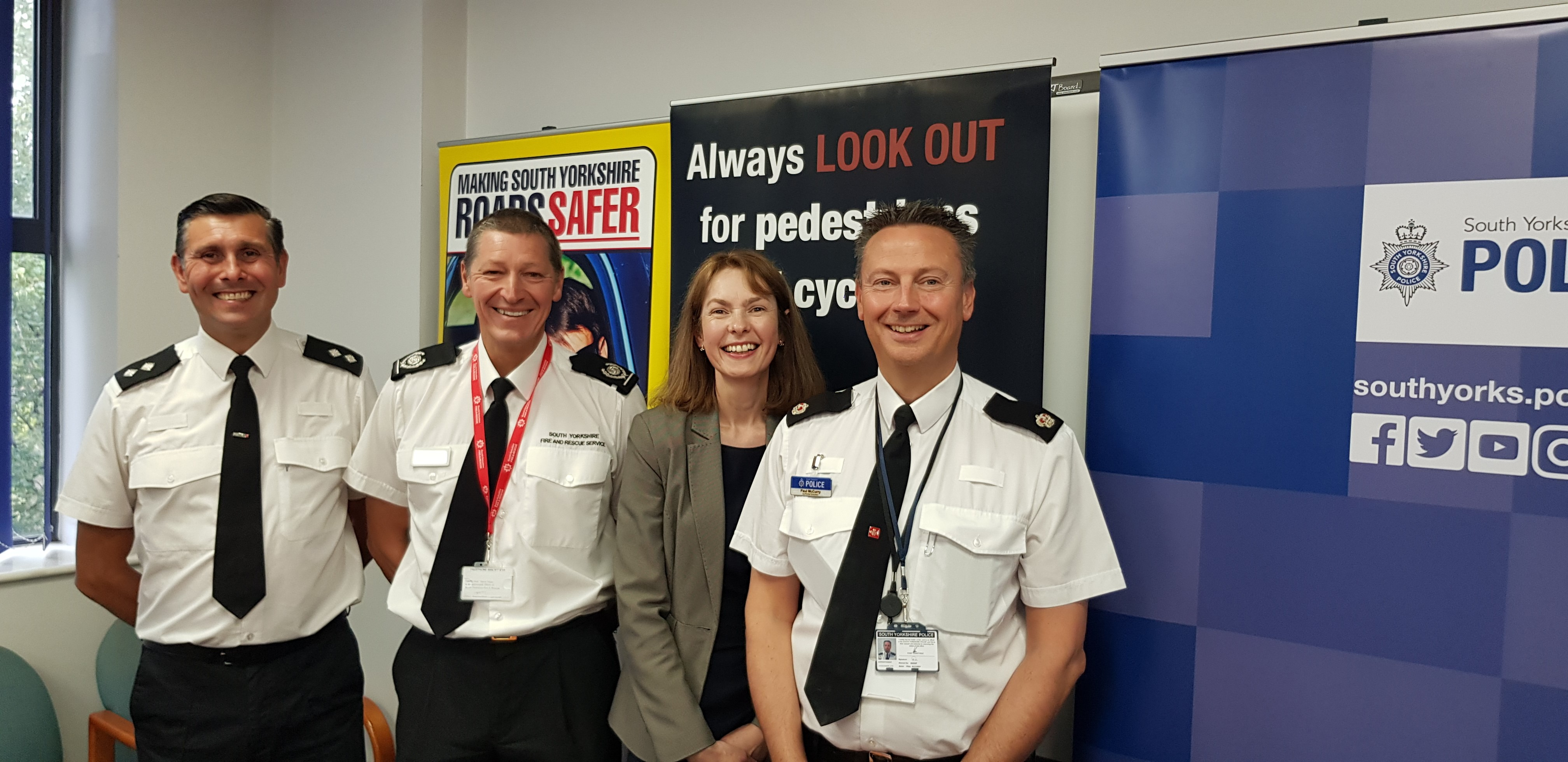 Left to right- Inspector Jason Booth, Steve Helps South Yorkshire Fire and Rescue Service, Joanne Wehrle,-manager of South Yorkshire Safer Roads Partnership and Superintendent Paul McCurry
